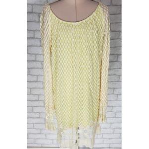 Umgee Crochet Cotton Lace Overlay Tunic Dress S